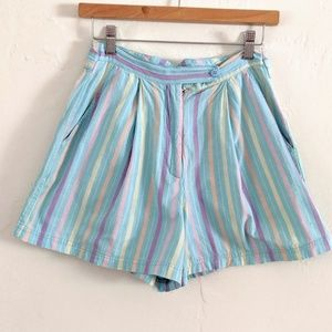 Vintage 90s Pastel Striped Pleated Shorts
